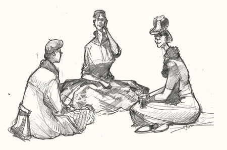 Drawing of women sitting at Goodwood Revival