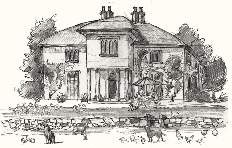 A drawing of a house for a wedding gift