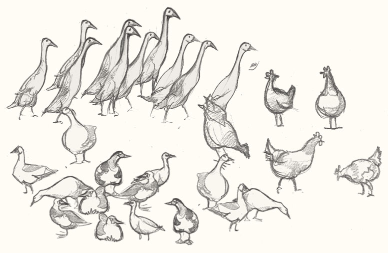 A drawing of ducks and chickens
