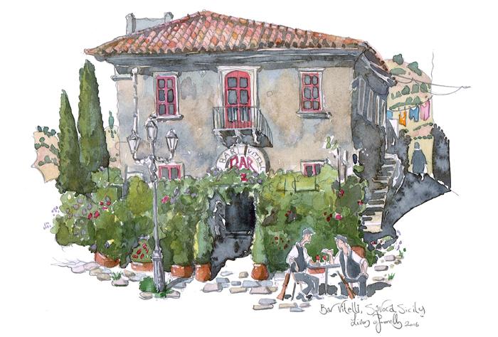 Bar Vitlelli painting Savoca Sicily