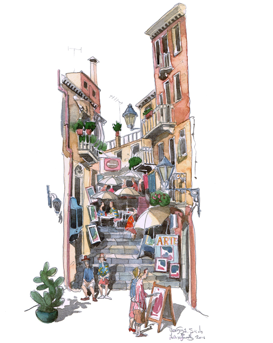 a Painting of Taormina Alley Sicily