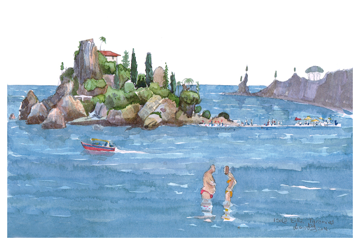 painting of Isola Bella sicily