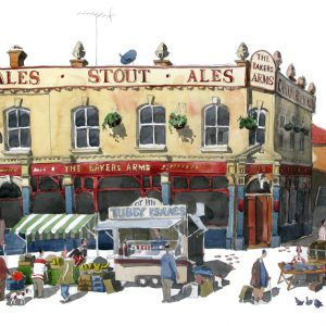 A print of The Bakers Arms walthamstow