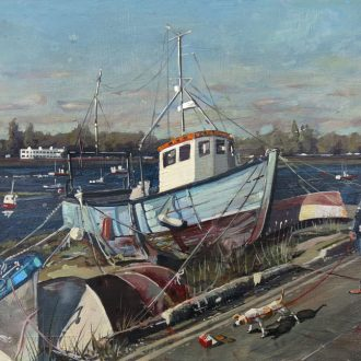 A painting of a boat in Portsmouth