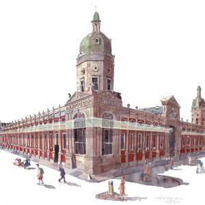 a painting of Smithfield market, London