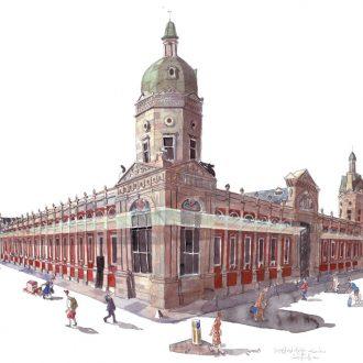 a painting of Smithfield market, London