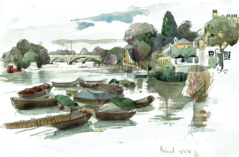 painting of The Thames from Painting of The White Cross, Richmond upon Thames