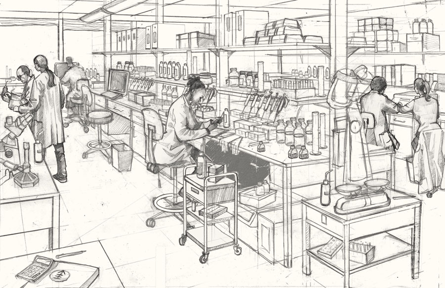 Drawing of a laboratory