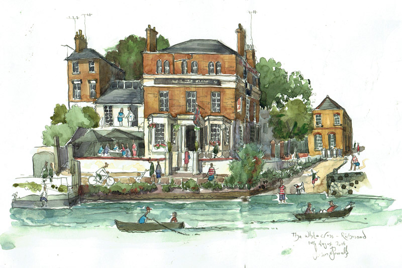 Paitning of a photo of The White Cross painting of The Thames from Painting of The White Cross, Richmond upon Thames