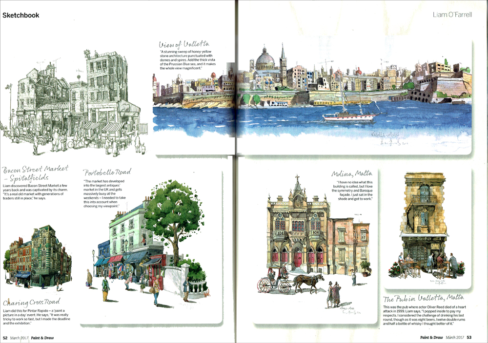 Paint & Draw magazine page of Liam O'Farrell
