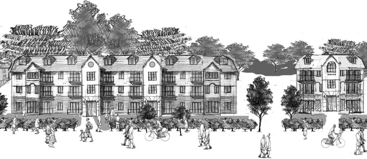 inital Woodside drawing of Architectural illustration