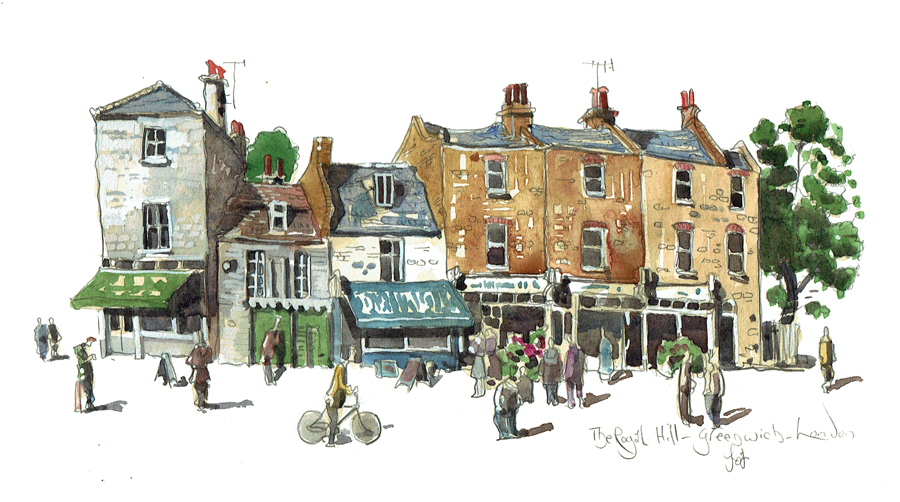 Painting of The Royal Hill, Greenwich