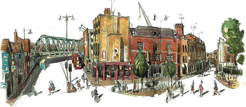 watercolour painting visual of Shoreditch High Street, London