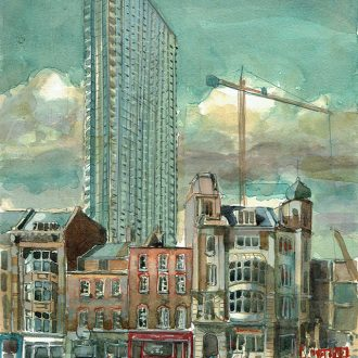 watercolour Painting of Denmark Street London