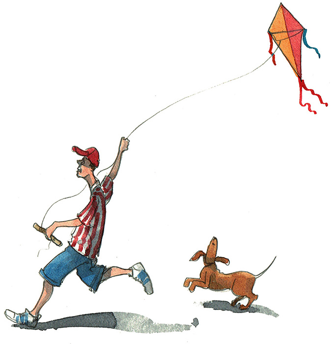Flying a kite illustration