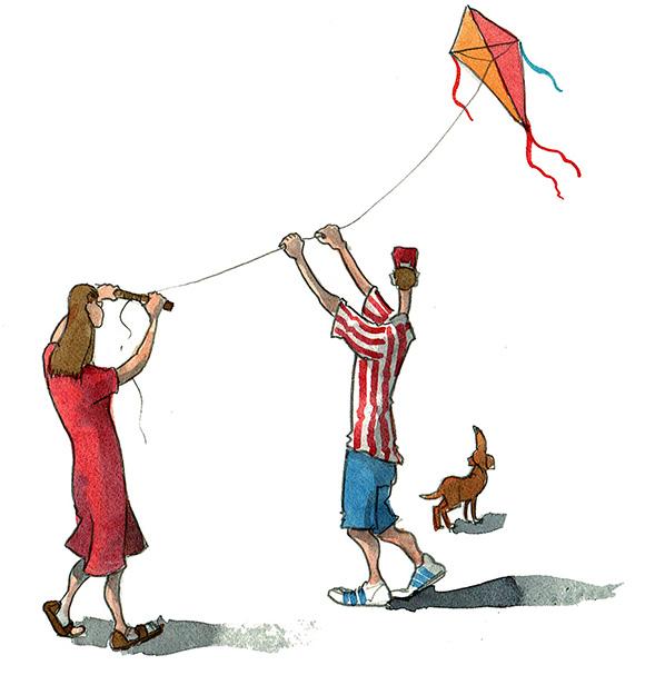 Flying a kite illustration 2