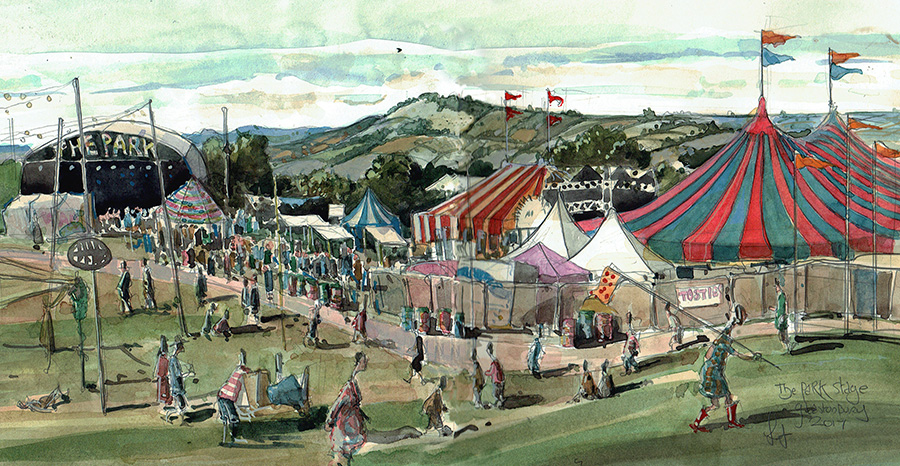Park Stage Glastonbury painting