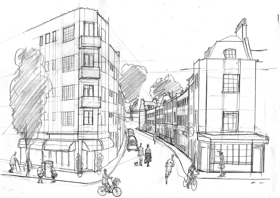 Drawing Mansell Street in Westminster London