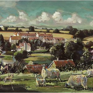 Pilton village Somerset Painting