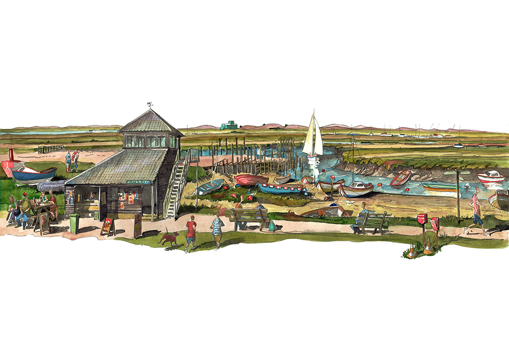 Print of painting of Morston and Blakeney Point
