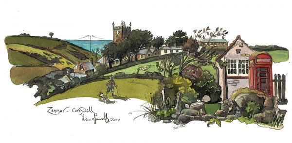 A painting of Zennor in Cornwall