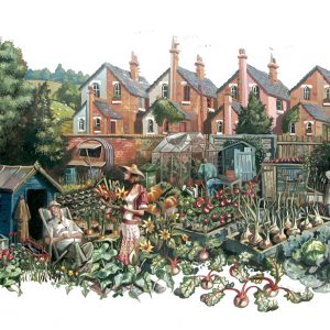A print of a man and wife in the allotment