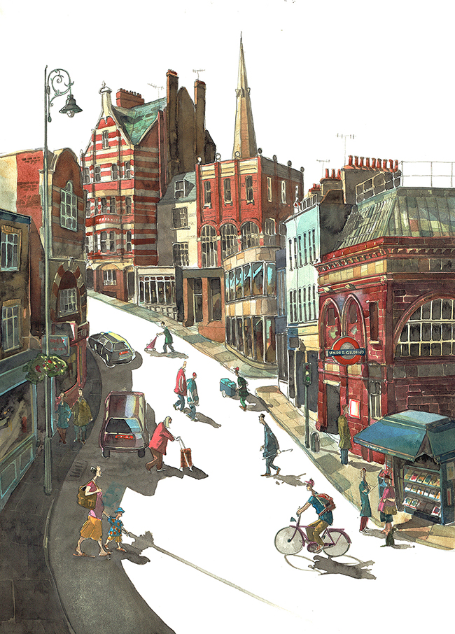 Painting of Heath Street, Hampstead London