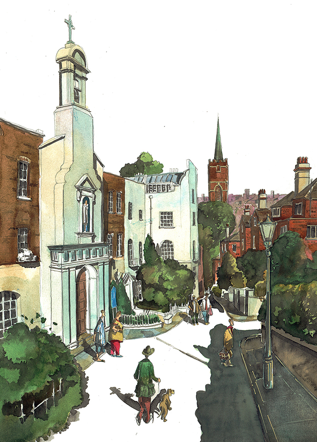Painting of Holly Walk, Hampstead London