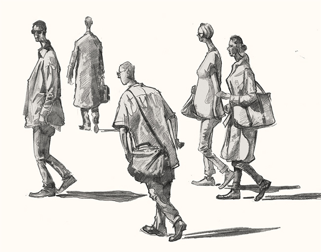 A drawing of people walking to work London