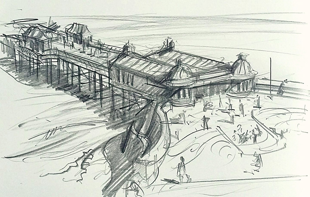 A drawing of Cromer Pier Norfolk