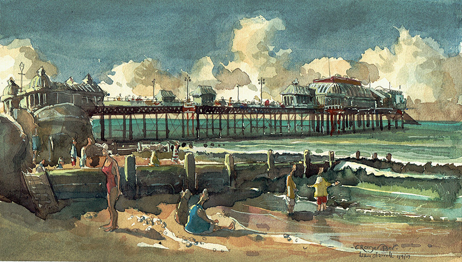 A watercolour painting of Cromer Pier Norfolk