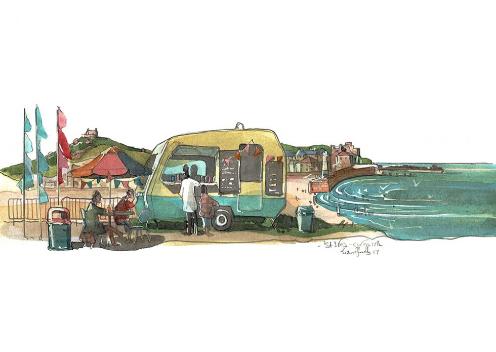 A painting of A caravan tea and Sandwich in St Ives Cornwall