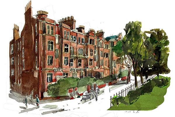 A painting of Ashworth Mansions, Maida Vale, London Sketch 1