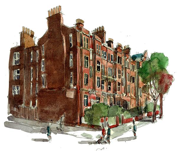 A sketch 3 of Ashworth Mansions, Maida Vale, London