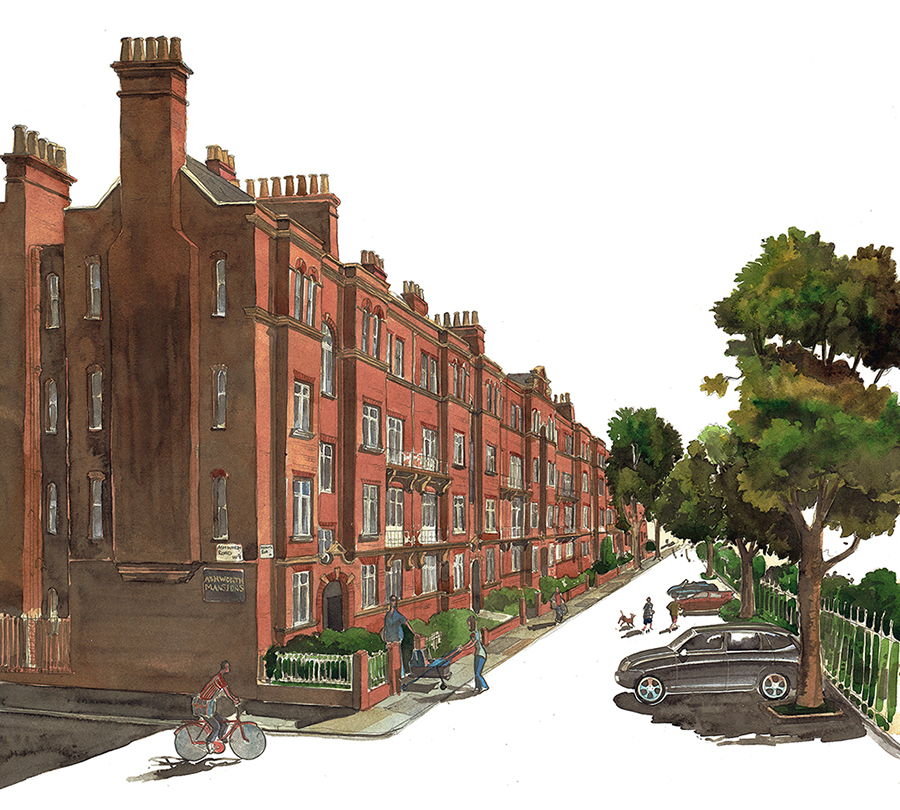 A painting of Ashworth Mansions, Maida Vale, London