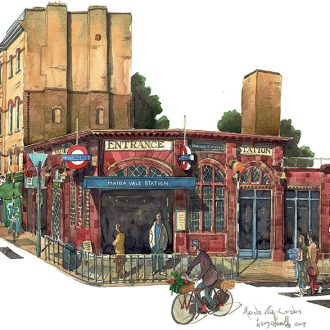 A painting of Maida Vale Tube Station London