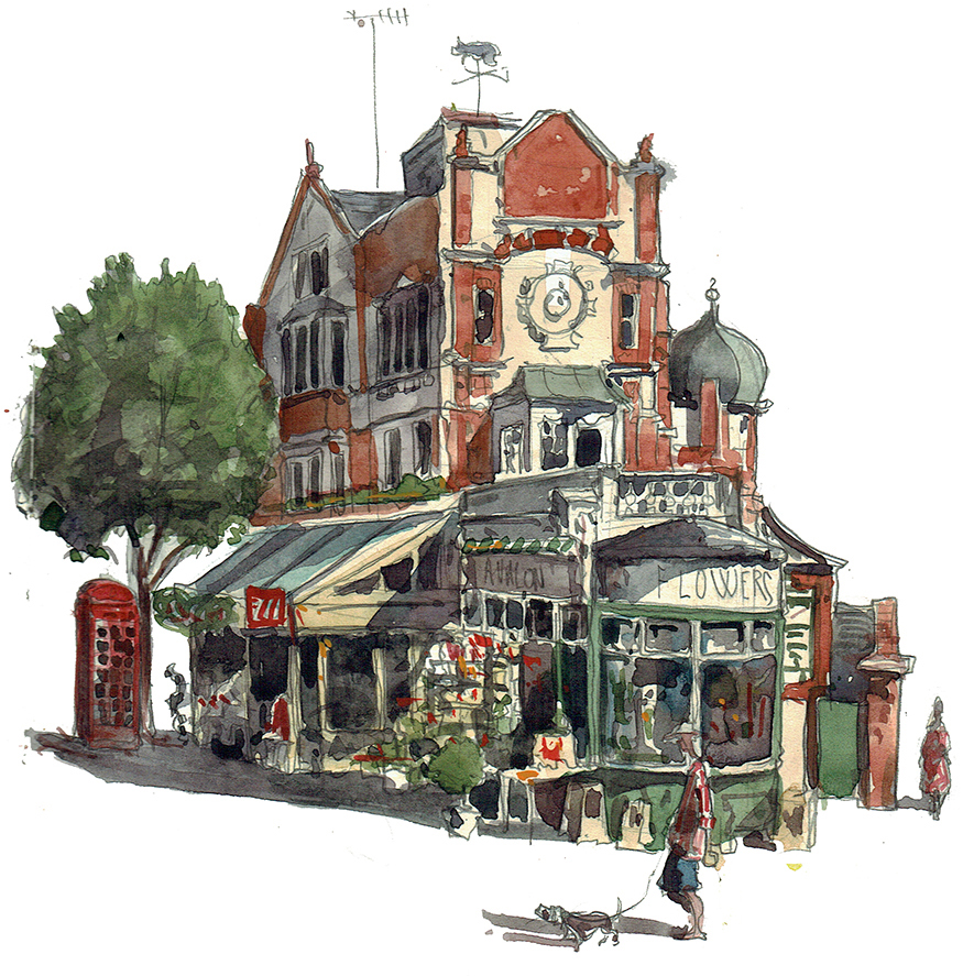 A painting of Le Cochonnet and Avalon Flowers in Maida Vale, London.