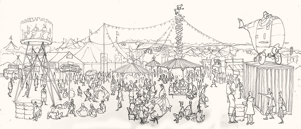 Drawing of The William Green Field Glastonbury Festival