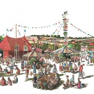 Painting of The William Green field Glastonbury Festival