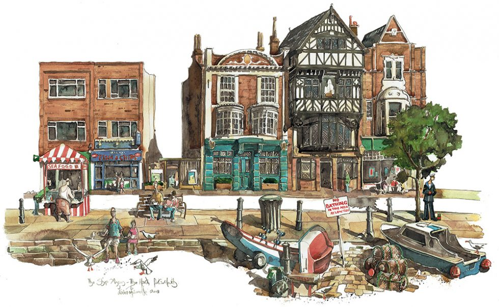 A painting of The Ship Anson Pub in Portsmouth