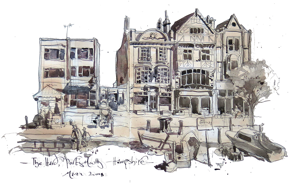 A drawing of The Ship Anson Pub in Portsmouth