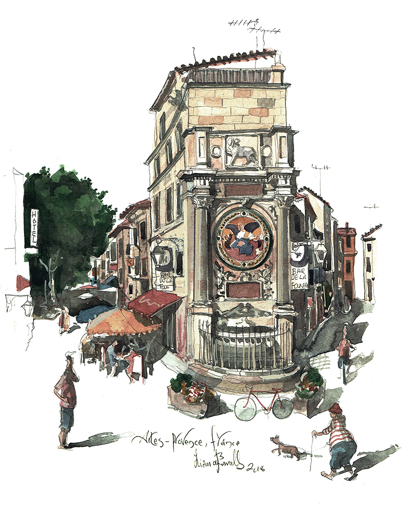 Painting of The Fountain in Arles France