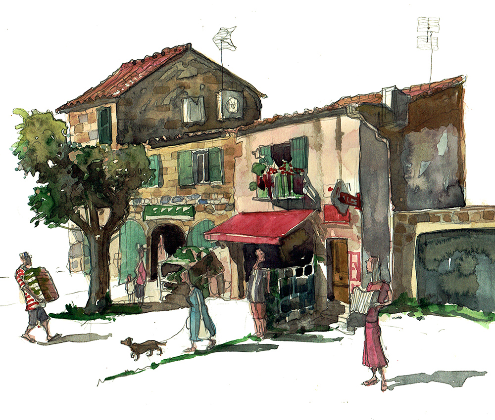 a painting of Calvisson France