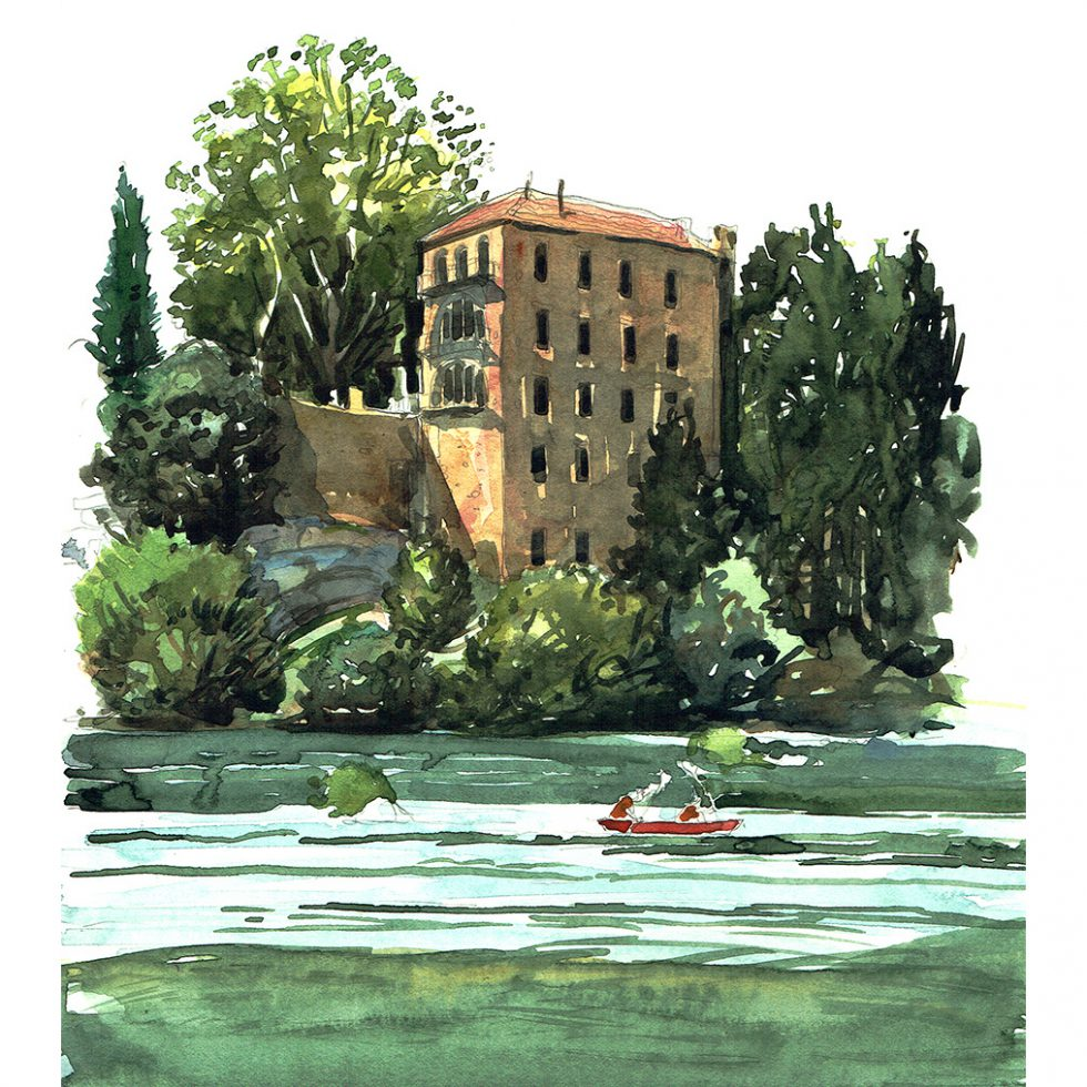 Painting of Le Vieux Moulin Hotel, Pont Du Gard