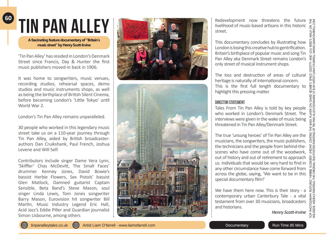 Tin pan Alley film press feature Madrid Film Festival