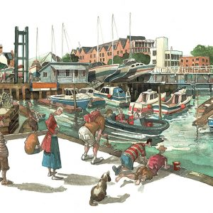 A painting of Lymington Harbour