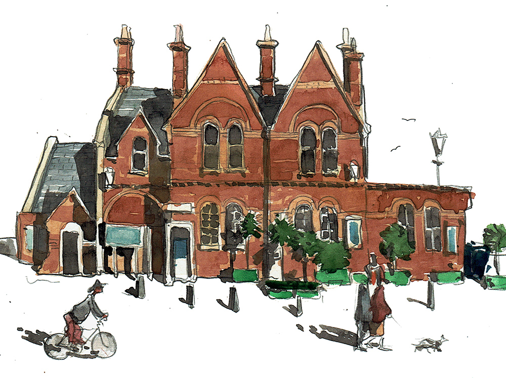 A painting of Lymington railsway station
