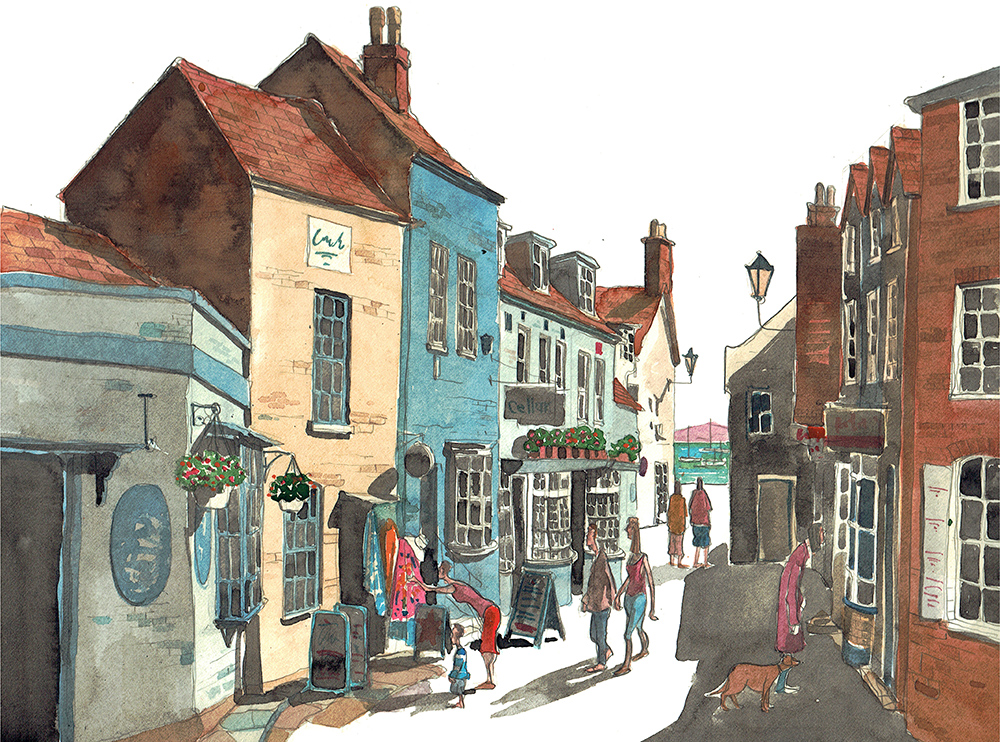 A painting of Quay Hill Lymington