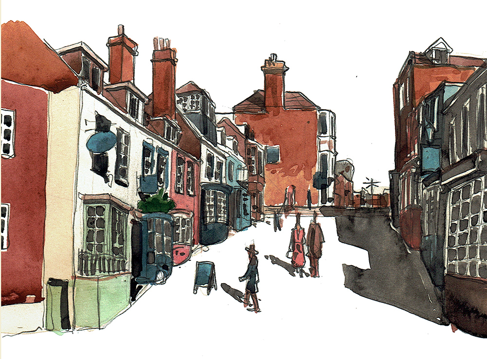 A painting of below Quay Hill Lymington