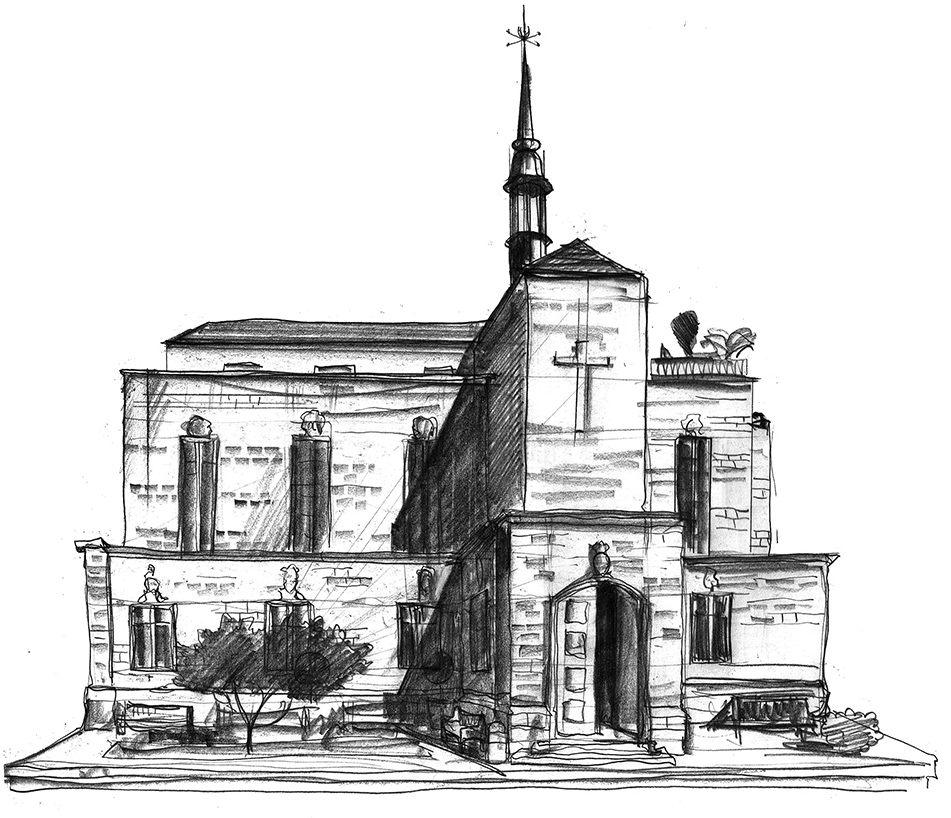 Drawing of Friers Square Church London